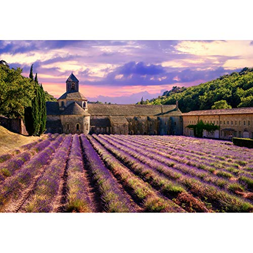 YongFoto 8x6.5ft Provence Manor Backdrop Lavender Field Background for Photography Sky Cloud Farm Spring Scenery Wedding Photo Banner Interior Decor Wallpaper
