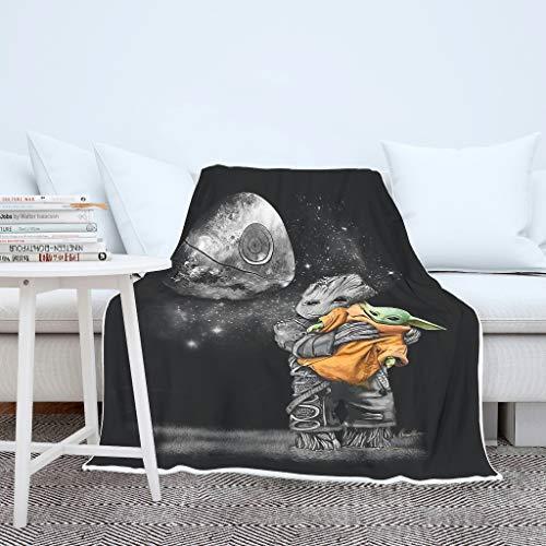 Decke Kuscheldecke Wohndecke Tagesdecke Baby Groot umarmt Yoda Schlaf Decke Damen Herren Samtweichem Reise Wohndecke White 150x200cm