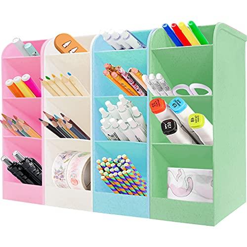 4 Stück Stiftehalter Organizer,Große Kapazität Stiftehalter,Schreibtisch stifthalter,Stifthalter Aufbewahrungsbox,pencil organizer,Schreibwaren stifthalter box,Multifunktionaler Stifthalter