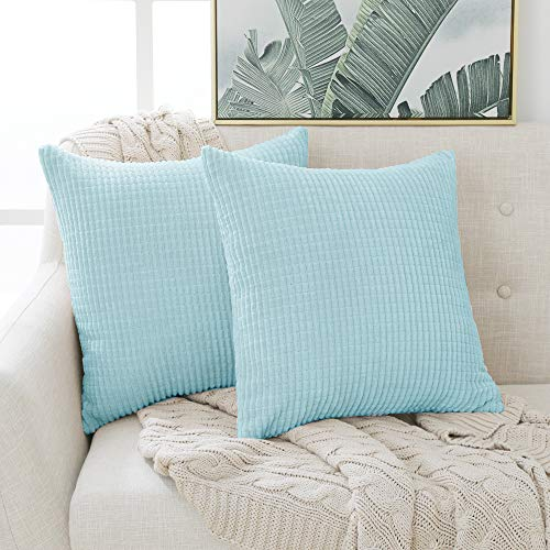 Deconovo Soft Square Throw Pillow Cases Solid Pillow Covers Corduroy Grid Cushion Covers for Dining Chairs 45cmx45cm 18x18 Inches Sky Blue 2 Pieces