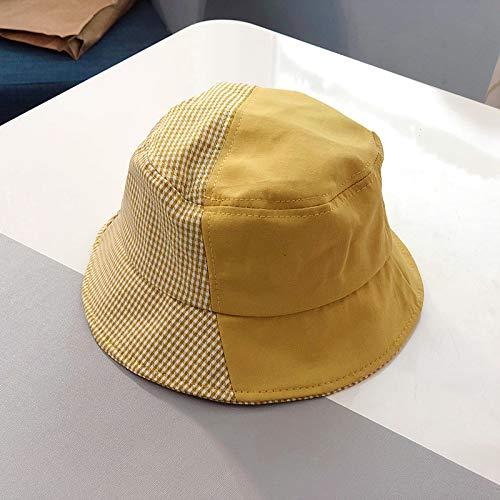 sdssup Farblich abgestimmte Gitterbeckenkappe Sonnenhut Baby Sommer Sonnencreme Hut Eltern-Kind-Kappe gelb Erwachsener (56-58)