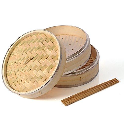 Bambus Steamer 25,4cm, haneye 2Etagen Bambus Dampfgarer mit Edelstahl Rand zum Dämpfen DIM Sum Klöße Brötchen Gemüse Fleisch Fisch Reis (inkl. 2Paar Essstäbchen und 100Dampfgarer Papier Liners)