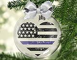 Yor242len Delgada línea azul flotante ornamento de Navidad, policía, honor, valentía, sacrificio