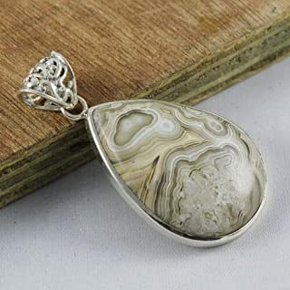 Solid 925 Sterling Silver Natural Laguna Agate Gemstone Pendant Jewelry Sz 4 cm, Valentine's Day Gift for Women, Valentine...