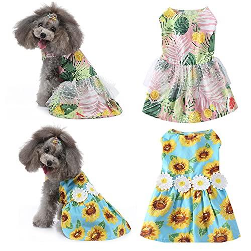 Yikeyo 2-Pack Dog Summer Dress Small Dog Girl Dresses Pet Puppy Princess Floral Shirt Clothes (X-Small, Sunflower + Hawaiian)