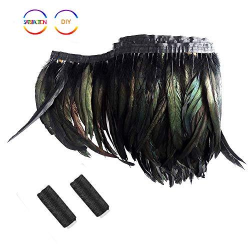 SwirlColor Plumas Negras Boa Adornos Costura Plumas