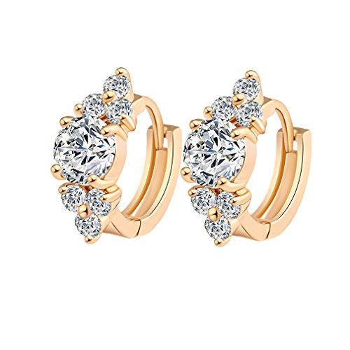 YAZILIND 18K Elegantes Vergoldet Zirkonia Edelstahl Hoop Huggies Ohrringe für Frauen plattiert