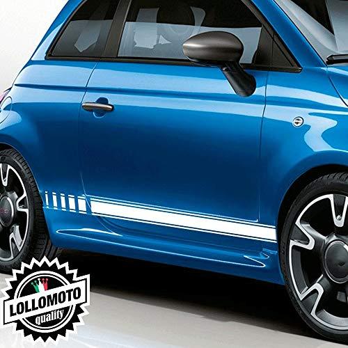 Lollomoto Strisce Laterali Sport per Fiat 500 S Adesivi Stickers Fiancate Auto Strip Decal - Grigio Scuro Opaco