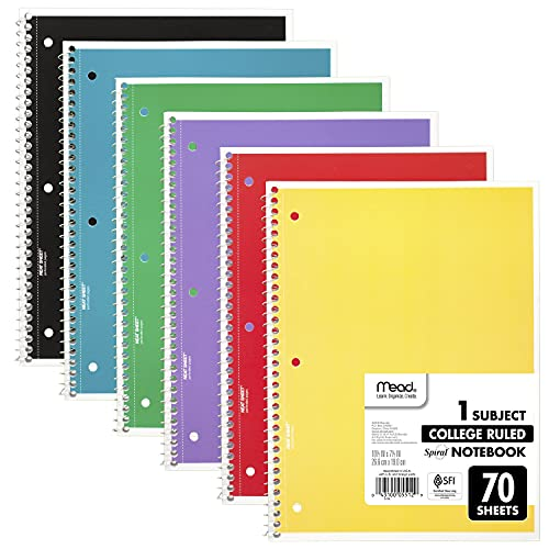 """Mead Spiral Notebooks, 1 Subject, College Ruled Paper, 70 Sheets, Colored Note Books, Lined Paper, Home School Supplies for College Students & K-12, 10 1/2"""" x 8"""", Assorted Colors, 6 Pack (73065)"""