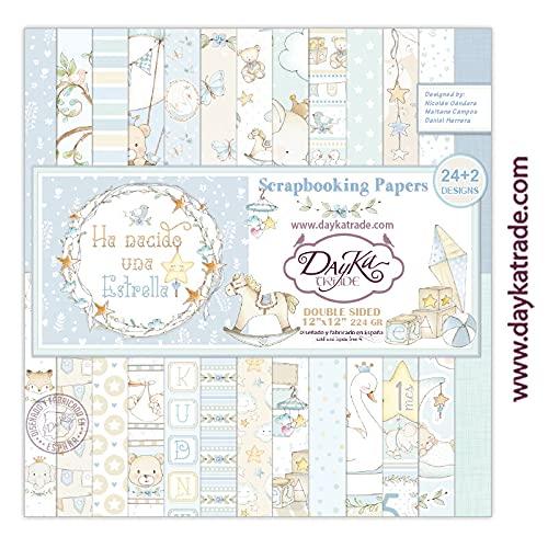 """Dayka Trade Set de Scrapbooking""""Ha Nacido una Estrella"""", niño, 24+2 diseños de papeles 12x12 pulgadas (30,5x30,5 cm)"""