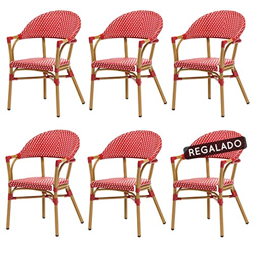 DÉSTOCKAGE: -39% Lot de 6 fauteuils LEON en polyrotin