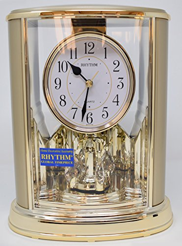 Rhythm Pendulum 2 Tone Oval Mantel Clock, Gold