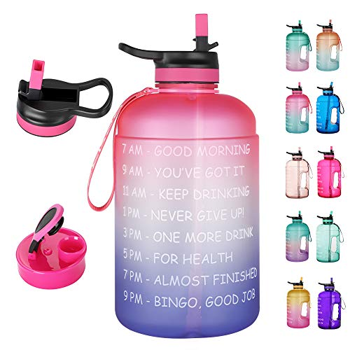 Opard 2 Litre Motivational Water Bottle with Time Markings Straw Half Gallon Water Bottle with 2 Lids Chug and Straw Leakproof BPA Free Reusable 2L Large Water Jug for Sports and Gym