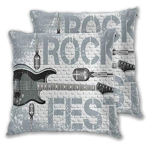 NUXIANY Funda de Cojín,Música Rock Grunge Color Salpicado Pared de ladrillo Fondo Guitarra electrónica Diseño de micrófonos Decorativo Azul Gris Negro Funda de Almohada Cojín Cuadrado 60x60cm