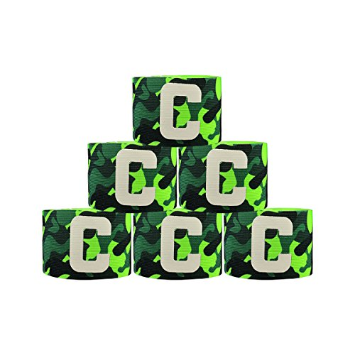 Adesugata Soccer Captain Armband,camouflage Football elastico, con velcro per misura regolabile, adatto per molteplici sport incluso calcio & Rugby, verde (6 pezzi)
