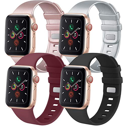 Tobfit 4 Pack Compatible with iWatch Bands 38mm 42mm 40mm 44mm, Soft Sport Replacement Band Compatible with iWatch Series 6 5 4 3 SE (Black/Rose Gold/Silver/Wine red, 38mm/40mm S/M)