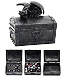 Forged Dice Co. Deluxe Dragon Dice Storage Box with Custom Dice Foam Insert - Container Holds up to 6 Sets of Polyhedral Dice or 42 Individual Dice