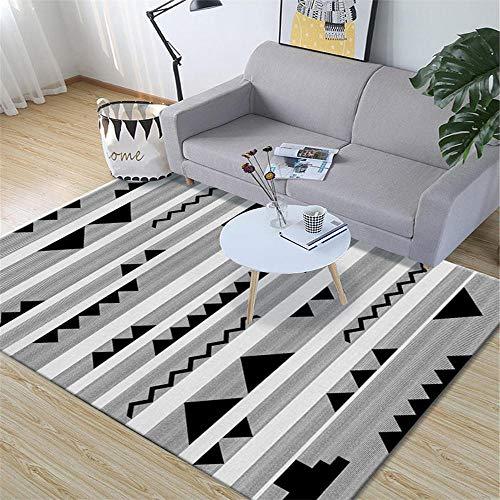 AU-SHTANG Alfombra pie de Cama Alfombra Gris, sofá con diseño de triángulo Negro, fácil de Mantener, Alfombra Suave Informal Alfombra antifatiga -Gris_El 120x160cm