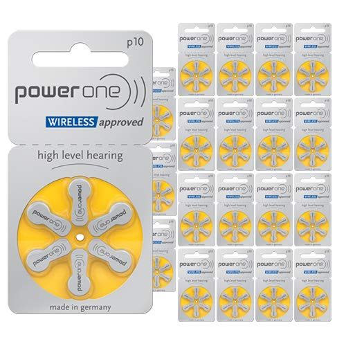 Power One Zinc Air Hearing Aid Batteries, (Yellow), P10, 120 Count