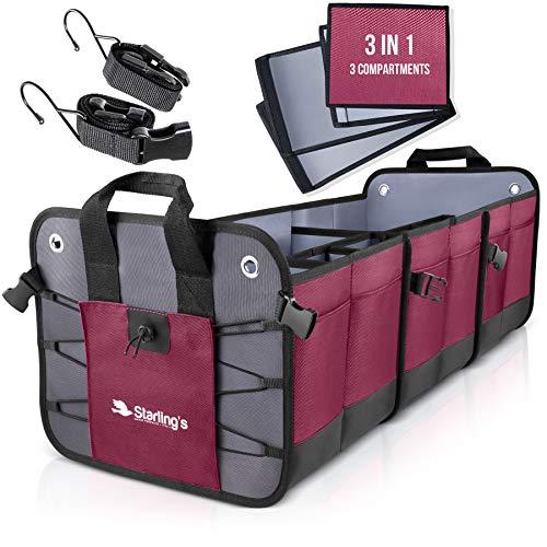 Starling's Car Trunk Organizer - Durable Storage SUV Cargo Organizer Adjustable (Bordeaux, 3 Compartments)