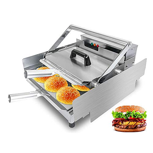 Máquina eléctrica comercial de hamburguesas,tostadora de hamburguesas para hornear de doble capa,máquina de pan de calentamiento automático,temporizador de 0-3 minutos,temperatura ajustable 50-300 ℃