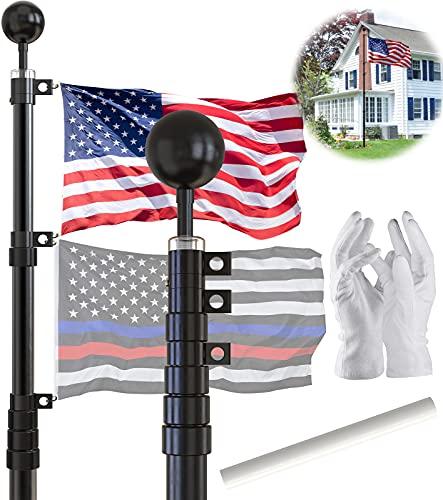 SCWN 25FT Telescoping Black Flag Pole Kit,Heavy...