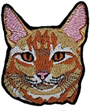 A-8, Abyssinian Cat DIY Embroidered Sew Iron on Patch 2.44 x 2.83 inches (6.2 x 7.2 cm)