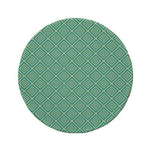 """Rutschfreies Gummi-rundes Mauspad Art Deco verschachtelte Quadrate Geometrisches zeitgenössisches Design Symmetrischer Fliesendruck Dekorativ Türkis und Gelb 7.9\""""x7.9\""""x3MM"""