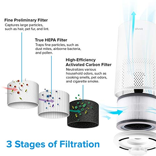 LEVOIT Air Purifiers for Home Allergies and Pets Hair, H13 True HEPA Air Purifier Filter, Quiet Filtration System in Bedroom, Removes Wildfire Smoke Odor Dust Mold, Night Light & Timer, Vista 200