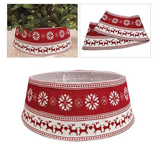Keemov Falda de árbol de Navidad de punto con base de alce...