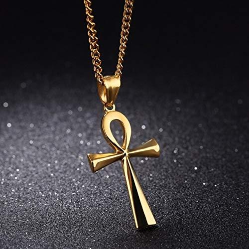 BJGCWY Collares Colgantes Acero Inoxidable Símbolo de la Vida Unisex Collares Cruzados Joyas Regalos 60cm Estilo 1 Oro