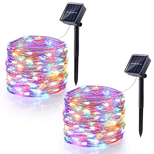 HHGN 2-Pack 100 LED Solar String Lights Outdoor, Waterproof 8 Modes Fairy Lights for Garden Patio Yard Wedding Party,Colored Light