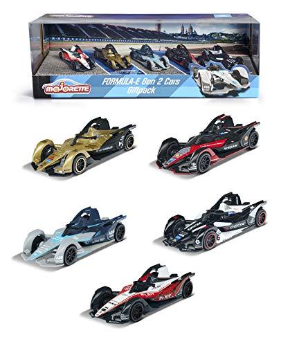 Majorette 212084026 Formula E GEN2 Car, 5er- Geschenkset, Rennautos in Geschenkverpackung, Auto, Spielzeugauto-Set, Sportwagen, Gummireifen, 2 exklusive Autos, Maßstab 1:64, 7,5 cm, ab 3 Jahren