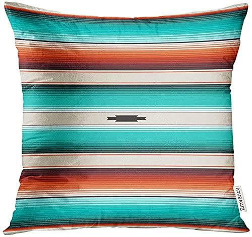 Funda de almohada azul turquesa naranja Navajo rayas blancas serape mexicano con hilos nativo americano étnico Boho decorativo funda de almohada decoración del hogar cuadrada 45 cm x 45 cm
