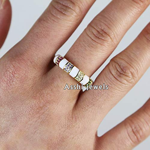 Pave Silver Jewelry Cigar Band Sapphire Ring Multi Sapphire Ring 925 Sterling Silver Pave Multi-Sapphire Cigar Ring