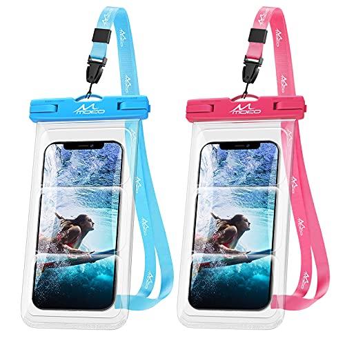 MoKo Funda Impermeable Universal, [2PZS] IPX8 Bolsa Estanca Submarina Móvil con Cordón para iPhone 12/12 Pro Max/11/11 Pro MAX/XS Max/XR/8/7 Plus,Galaxy S21/S20 Plus/Note 10/9 hasta 6.8', Azul+Rosa