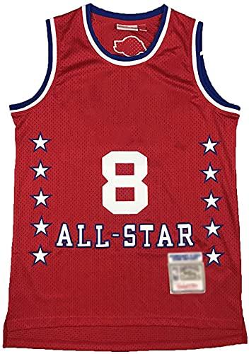 CHSSC Camiseta de baloncesto #8 de malla sin mangas retro camiseta unisex abanicos, camiseta bordada con letras S-xxl, rojo – XXL
