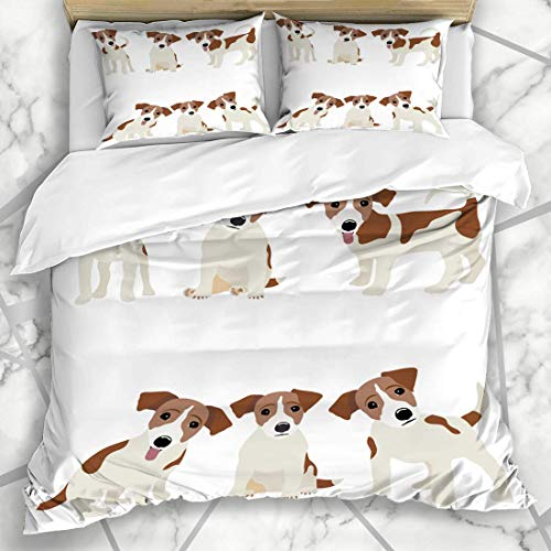 Soefipok Duvet Cover Sets Pet Russel Jack Russell Terrier Dog Cute Funny Avatar Puppy Design Microfiber Bedding with 2 Pillow Shams