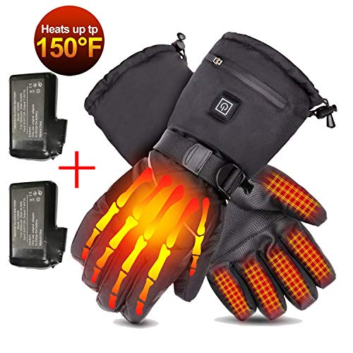 Loiion Heated Motorcycle Gloves, Rechargeable 7.4V 2500mAh Heated Gloves for Men & Women, Winter Snow Gloves, Ski Gloves, Electric Battery Workout...