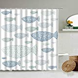 XCBN Dibujos Animados de Animales Marinos patrón de pez delfín Azul Cortina de Ducha baño partición Decorativa Pantalla Impermeable A3 150x180cm