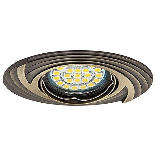 HQ Designer Deckeneinbauspot oval Einbaurahmen messing patiniert FAGA schwenkbar -0 Deckeneinbaurahmen Deckeneinbaufassung für MR16 GU5,3 50mm LED Strahler und Spot, hochwertiges Gussstück aus Aluminiumlegierung