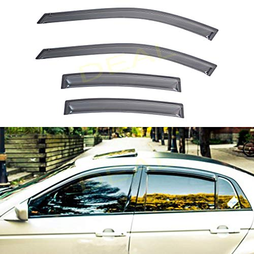 DEAL AUTO ELECTRIC PARTS 4-Piece Set JDM Style Vent Smoke Window Visor, Side Window Sun Rain Guard With Outside Mount Tape-On Type, Custom Compatible With For 2004-2008 TL Type-S/Base Sedan 4-Door