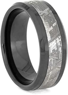 Jewelry By Johan Black Ceramic Ring with Meteorite Inlay and Beveled Edges, Manly Band
