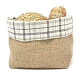 Gaidra Brotkorb - Stoff - Brötchenkorb aus Jute und Baumwollgewebe, für Aufbewahrung von Brot und Gebäck, Designtasche in hochwertiger Verarbeitung aus Naturfasern - Kariert, grau, 20 x 20 x 10 cm