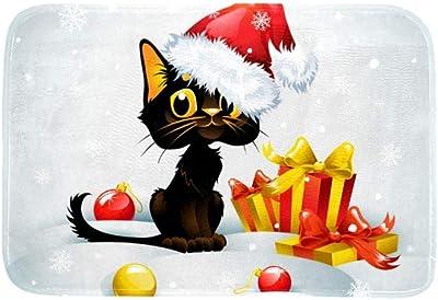 EGGDIOQ Doormats Christmas Black Cat and Gift Box Custom Print Bathroom Mat Waterproof Fabric Kitchen Entrance Rug, 23.6 x 15.7in