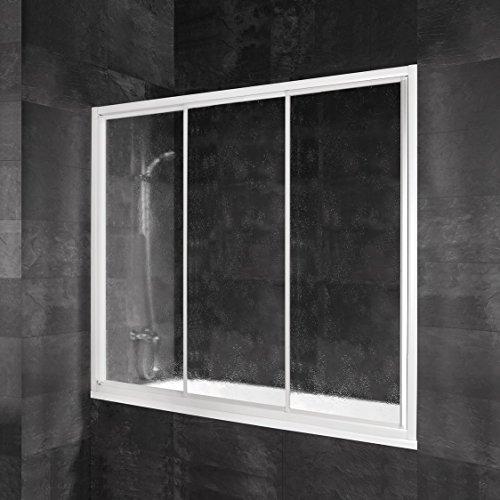 Schulte Pare-baignoire coulissant, paroi de baignoire en niche, 3 volets, 4060991034046, verre synthétique transparent, profilé lanc, 170x150 cm