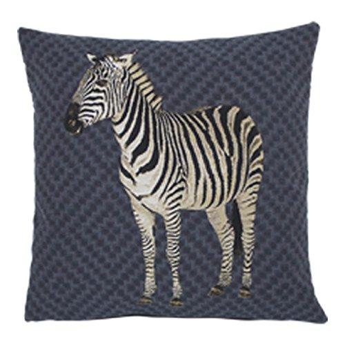 Gobelin kussen Zebra 45x45 grijs-blauw, dierkussen gevuld - sierkussen voor een gezellig huis