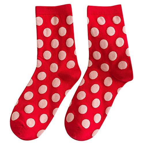 Hunpta@ Damen Socken Rot Serie Winter Warm Mode Süßes Frauen Atmungsaktivität Dicke Mittelstrumpf