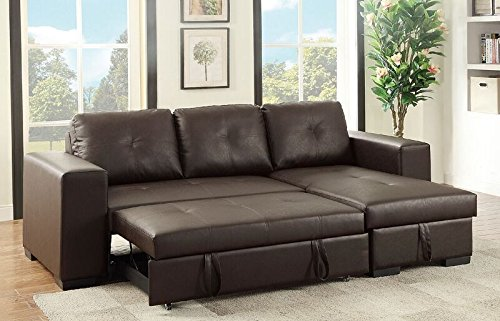 Poundex Bobkona Nathan Faux Leather SECTIONAL with Pull-Out Bed & Compartment in Espresso