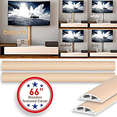 Floor Cord Cover Kit- 66 inches Rigid Durable Cable Organizer Electric Wire Raceway Self Adhesive Cord Concealer On-Wall and Floor Cable Cover Channel 2 Pieces (WxHxL)